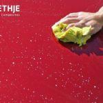 Spendenaktion der Wethje-Azubis - rote Motorhaube mit Hand und Schwamm